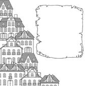 Esboço da cidade, casas de fundo para seu projeto. — Vetor de Stock