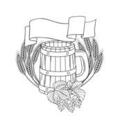 Vector illustration of a barrel, mug, wheat, hops. — Stock Vector
