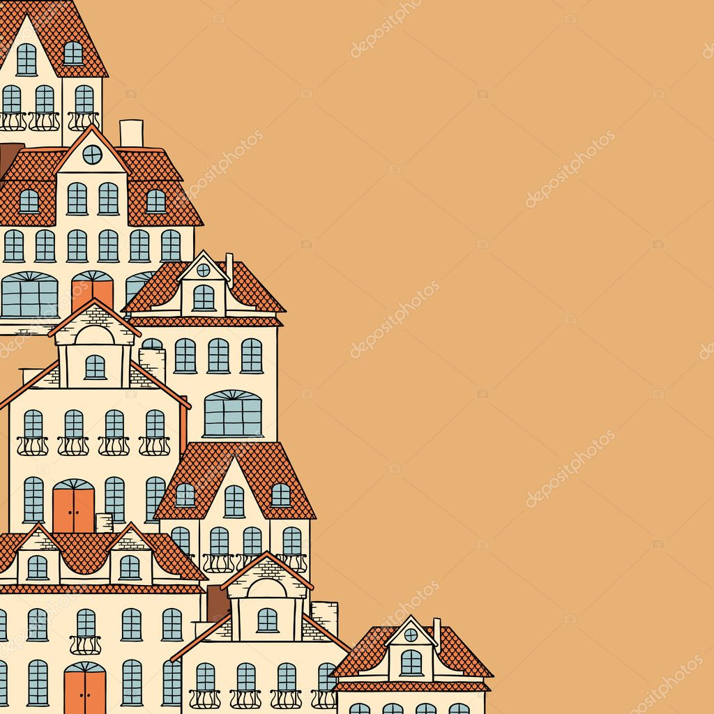 City sketch, houses background for your design. — Stock Vector #10456445