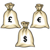 Money bags with dollars, euro and pound. Vector. — Stock Vector