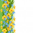Seamless Flowers Pattern. Vector illustration of yellow daffodil - Stockvektor