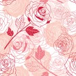 Floral background with roses. Vector seamless pattern. — Stock Vector