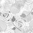 Floral background with roses. Vector seamless pattern. — Stock Vector #10660477