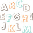 Stock Vector: Cute hand drawn font. Vector letters set A-M