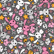 Seamless pattern with doodle. Vector kawaii illustration. — Vektorgrafik