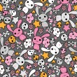 Seamless pattern with doodle. Vector kawaii illustration. — Stock vektor