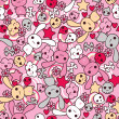 Seamless pattern with doodle. Vector kawaii illustration. — Vector de stock
