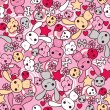 Seamless pattern with doodle. Vector kawaii illustration. — Stockvectorbeeld