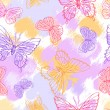 Butterflies. Beautiful background with a flower ornament. - Vettoriali Stock