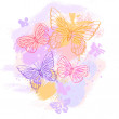 Colorful grunge background with butterfly. Vector illustration. — Stock Vector