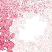 与粉红玫瑰的花卉背景。矢量插画. — 图库矢量图片