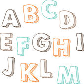 Cute hand drawn font. Vector letters set A-M — Stock Vector