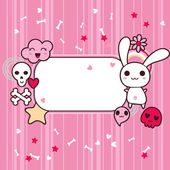 Funny background with doodle. Vector kawaii illustration. — Stock Vector