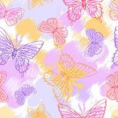 Schmetterlinge. schönen hintergrund mit ein blumenornament. — Stockvektor