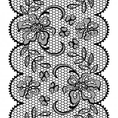 Old lace background, ornamental flowers. Vector texture.