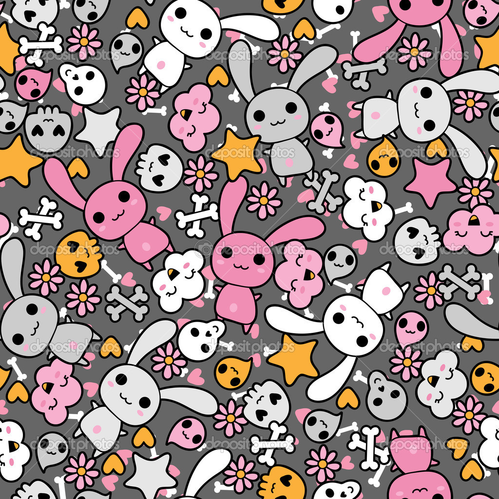 Seamless pattern with doodle. Vector kawaii illustration. — Stock Vector #10660641