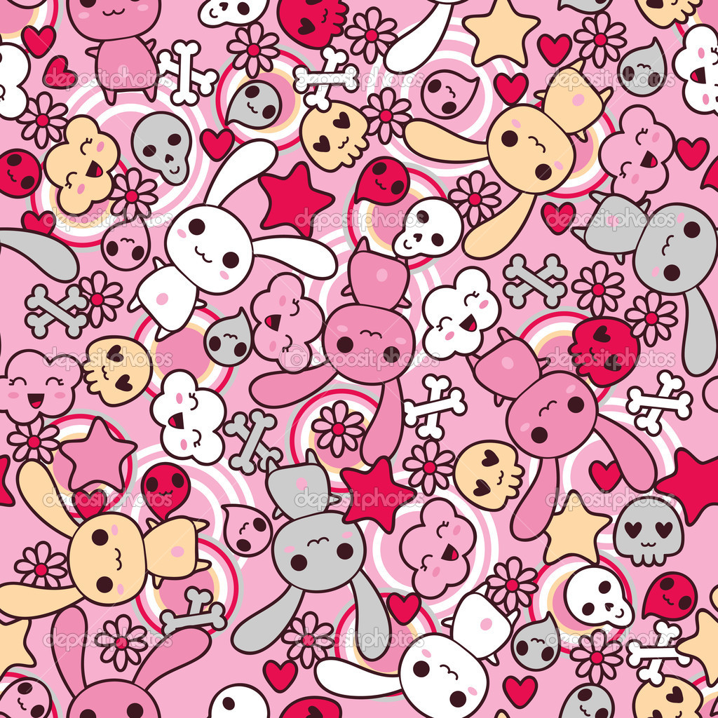 Seamless pattern with doodle. Vector kawaii illustration.  Stock Vector #10660647