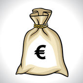 Money bag with euro sign vector illustration — Stock Vector