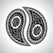 Floral Yin Yang Symbol vector illustration. — Stock Vector