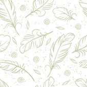 Vintage seamless pattern with hand-drawn feathers — Stock Vector