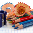 Pencils and sharpener — Stock Photo #9951855