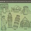 Set: various architectural monuments of the world — Stockvector