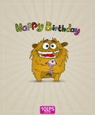 Funny monster whith gift Happy Birthday — Stock Vector