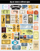 Big set: tickets in different styles. Vector. — Stock Vector