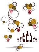 Grape vines and wineglasses elements set. — Stock Vector