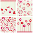 Royalty-Free Stock Vector Image: Girlie seamless background and objects set.