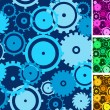 Gears seamless backgrounds set. — Stock Vector