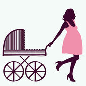 Pregnant woman with carriage. — Stock Vector