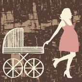 Donna incinta con carrello. — Vettoriale Stock