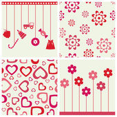 Girlie seamless background and objects set. — Stock Vector
