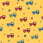 Sömlös lastbil leksaker bakgrund. — Stockvektor