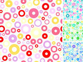 Seamless multicolored rings abstract backgrounds set. — Stock Vector