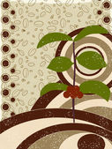 Coffee tree on abstract coffee beans background. — Stock Vector