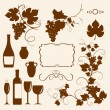 Stock Vector: Winery design object silhouettes.