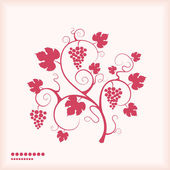 Grape vine silhouette pink colored background. — Stock Vector