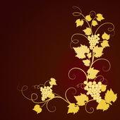 Golden grape vine on dark brown background. — Stock Vector