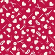 Seamless sewing objects and hearts background. — Stock Vector #9824073