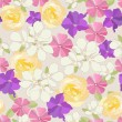 Seamless garden flowers background. — Imagen vectorial