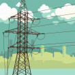 High-voltage tower silhouette on the urban background. — Stockvector