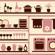Kitchen objects silhouettes set. — Stock Vector