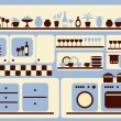 Kitchen ware and home objects set. — Stock Vector
