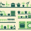 Stock Vector: Kitchen objects silhouettes set.
