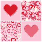 Seamless backgrounds and hearts design. — Stock vektor
