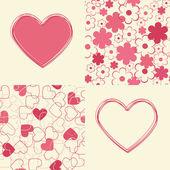Bezešvé pozadí a srdce design. — ストックベクタ