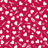 Seamless sewing objects and hearts background. — Stock Vector