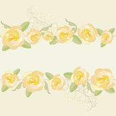 Yellow roses ornate frame background. — Stock Vector